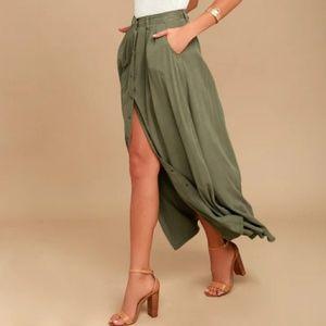 Olive Green Button down Chiffon Dress